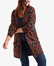 Lucky Brand Trendy Plus Size Ikat Cardigan