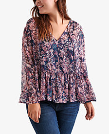 Lucky Brand Plus Size Printed Peplum Top, Created for Macy's