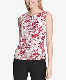 Calvin Klein Petite Floral-Print Blouse