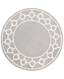 "Surya Horizon HRZ-1062 Medium Gray 7'10"" Round Area Rug"