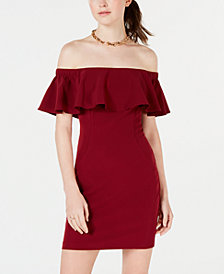 Teeze Me Juniors' Off-The-Shoulder Flounce Bodycon Dress