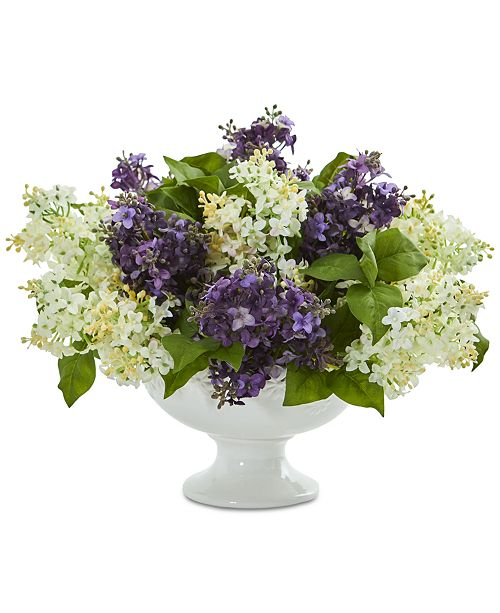 Nearly Natural Lilac Artificial Arrangement in White Pedestal Vase