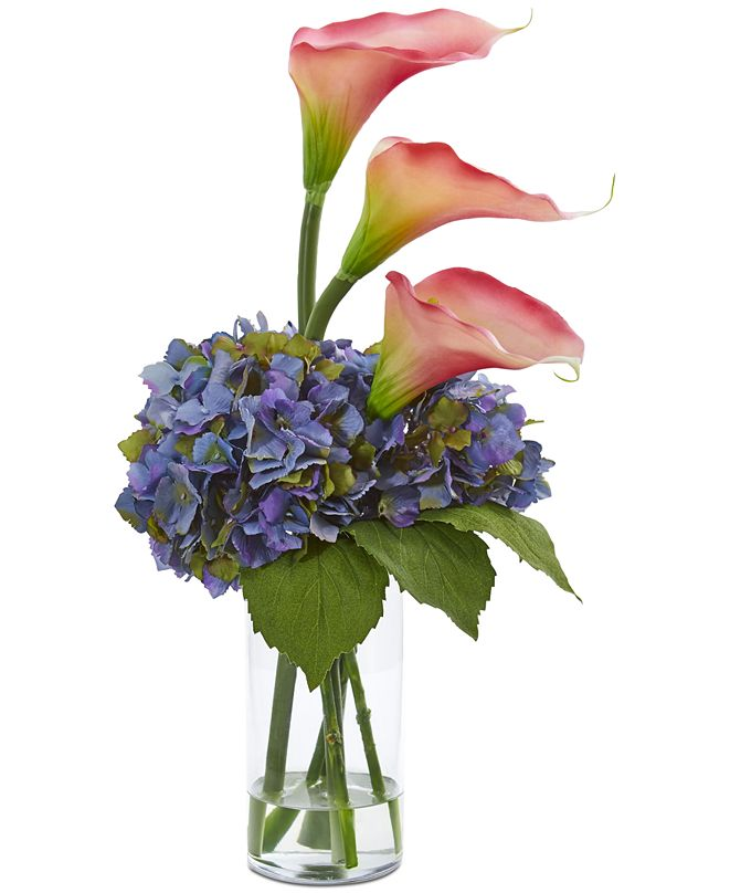 Nearly Natural Calla Lily & Hydrangea Artificial Arrangement in Clear Vase