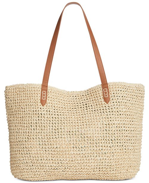 I N C  Tropical Straw Tote, Created for Macy's
