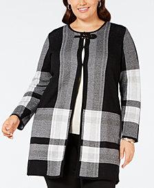 Kasper Plus Size Plaid Sweater Jacket