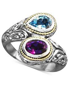 Balissima by EFFY Blue Topaz (3/4 ct. t.w.) and Amethyst (3/4 ct. t.w.) Bypass Ring in Sterling Silver and 18k Gold