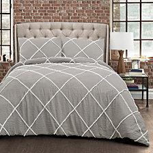 Diamond Pom Pom 3-Piece Full/Queen Comforter Set