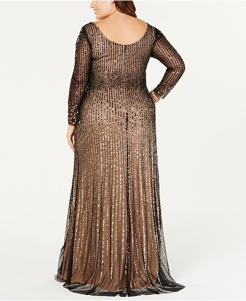 Adrianna Papell Plus Size Long-Sleeve Sequin Evening Gown & Reviews ...