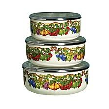 Kensington Garden Porcelain Enamel Set of 3 Covered Mixing Bowls