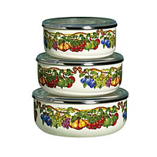 Kensigton Garden Porcelain Enamel Set of 3 Covered Mixing Bowls