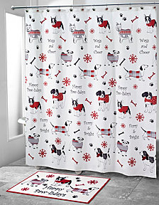 Avanti Happy Pawlidays Shower Curtain