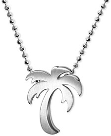 "Palm Tree 16"" Pendant Necklace in Sterling Silver"