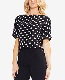 Vince Camuto Dot-Print Boat-Neck Top