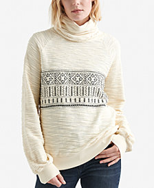 Lucky Brand Textured Turtleneck Cotton Sweater