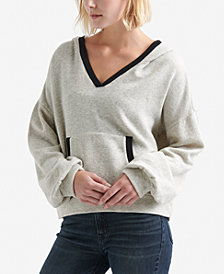 Lucky Brand Contrast-Trim Cropped Hoodie
