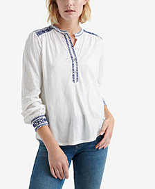 Lucky Brand Cotton Embroidered-Trim Henley Top
