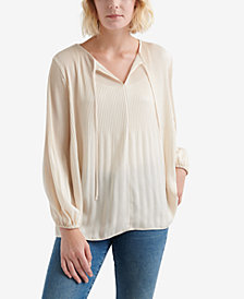 Lucky Brand Pleated Peasant Top