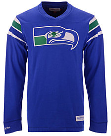 Mitchell & Ness Men's Seattle Seahawks Team Captain V-Neck Long Sleeve T-Shirt
