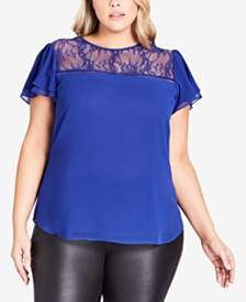 City Chic Trendy Plus Size Lace Trim Top