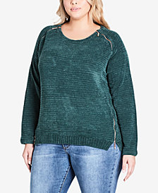 City Chic Trendy Plus Size Zipper Shoulder Sweater
