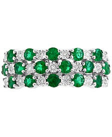 EFFY® Emerald (1 ct. t.w.) & Diamond Accent Ring in 14k White Gold