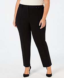 Alfani Plus Size Ponté-Knit Rivet-Detail Slim Pants, Created for Macy's