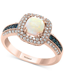 EFFY® Opal (1-1/6 ct. t.w.) & Diamond (3/8 ct. t.w.) Ring in 14k Rose Gold