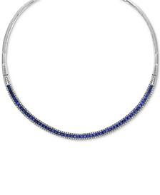 "EFFY® Sapphire (10-1/10 ct. t.w.) & Diamond (1-1/5 ct. t.w.) Fancy 18"" Collar Necklace in 14k White Gold"