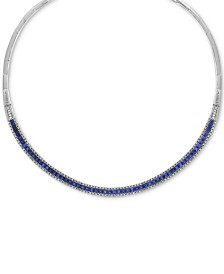 "EFFY® Sapphire (10-1/10 ct. t.w.) & Diamond (1-1/5 ct. t.w.) Fancy 18"" Collar Necklace in 14k White Gold"