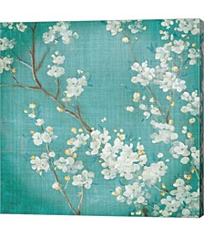 White Cherry Blossoms II on Blue Aged No Bird by Danhui Nai Canvas Art