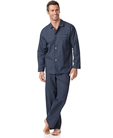 Men's Navy Check Shirt and Pants Pajama Set
