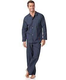 Men's Navy Check Shirt and Pants Pajama Set