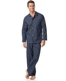 Club Room Men's Navy Check Shirt and Pants Pajama Set