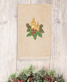 CLOSEOUT!  Linum Home Christmas Candles 100% Turkish Cotton Hand Towel