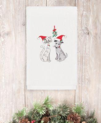 CLOSEOUT!  Christmas Cute Couple 100% Turkish Cotton 2-Pc. Hand Towel Set