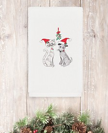 CLOSEOUT! Linum Home Christmas Cute Couple 100% Turkish Cotton Hand Towels