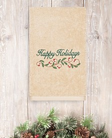 CLOSEOUT!  Christmas Happy Holidays 100% Turkish Cotton Hand Towel
