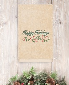 CLOSEOUT! Linum Home Christmas Happy Holidays 100% Turkish Cotton Hand Towels