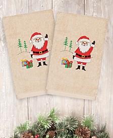 CLOSEOUT!  Christmas Santa Waving 100% Turkish Cotton 2-Pc. Hand Towel Set