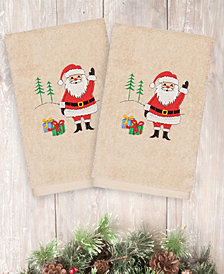 Linum Home Christmas Santa Waving 100% Turkish Cotton 2-Pc. Hand Towel Set