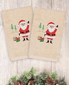 CLOSEOUT! Linum Home Christmas Santa Waving 100% Turkish Cotton 2-Pc. Hand Towel Set