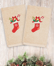 Linum Home Christmas Stocking 100% Turkish Cotton 2-Pc. Hand Towel Set