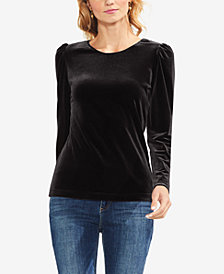 Vince Camuto Puff-Shoulder Velvet Top