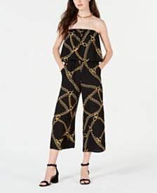 Be Bop Juniors' Chain-Print Popover Jumpsuit