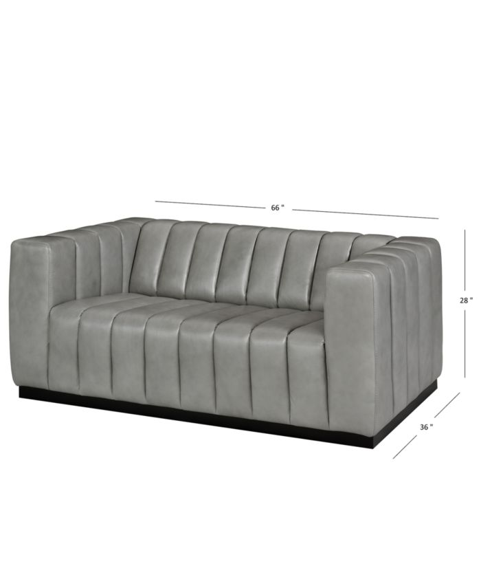 """Furniture Halewood 66"""" Leather Loveseat & Reviews - Furniture - Macy's"""