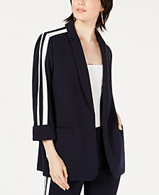 Bar III Varsity-Stripe Open-Front Jacket, Created for Macy's