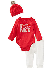 First Impressions Baby Boys & Girls Bodysuit, Jogger Pants & Beanie, Created for Macy's