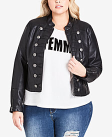 City Chic Trendy Plus Size Faux-Leather Jacket