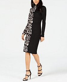 Bar III Colorblocked Leopard Sweater Dress, Created for Macy's