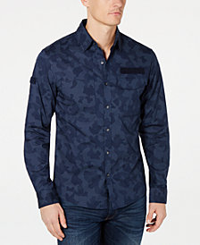 Michael Kors Mens Camo-Print Slim-Fit Shirt